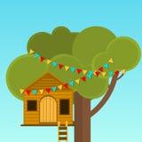Los juegos de los niños de la casa en el árbol Teatro en el árbol stock de ilustración
