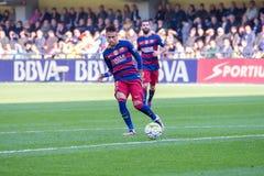 Los juegos de Neymar en el La Liga hacen juego entre el Villarreal CF y el FC Barcelona en el estadio del madrigal del EL Imágenes de archivo libres de regalías