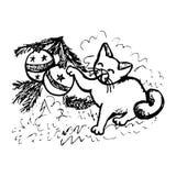 Los juegos del gato con la Navidad juegan (la abstracción) libre illustration
