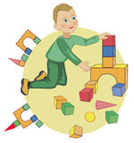 Los juegos del niño con los cubos Fotografía de archivo