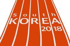 Los juegos olímpicos 2018 del invierno de la Corea del Sur firman la pista encima de funcionamiento 3 Fotografía de archivo