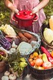 Los juegos preciosos de la muchacha con las verduras Fotos de archivo libres de regalías