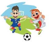 Los jugadores de fútbol de las historietas juegan la bola en el estadio ilustración del vector