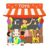Los juguetes almacenan, ejemplo plano del vector de la tienda de regalos ilustración del vector