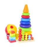 Los juguetes de los niños aislados en el fondo blanco foto de archivo libre de regalías