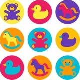 Los juguetes de los niños multicolores Imágenes de archivo libres de regalías