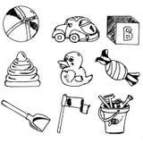 Los juguetes de los niños, sistema Imagen de archivo libre de regalías