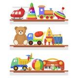 Los juguetes de los niños en los estantes ilustración del vector