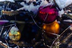 Los juguetes del ` s del Año Nuevo cuelgan en el árbol de navidad, decoración festiva en el árbol Fotografía de archivo libre de regalías
