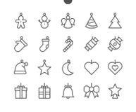 Los juguetes en el pixel del árbol de navidad UI perfeccionan vector Bien-hecho a mano alinean ligeramente los iconos 48x48 listo Foto de archivo