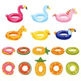 Los juguetes lindos inflables de los niños de la piscina fijaron aislado en el fondo blanco Ejemplo dibujado mano del garabato de Imagen de archivo
