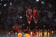 Los juguetes y los ornamentos del Año Nuevo Foto de archivo