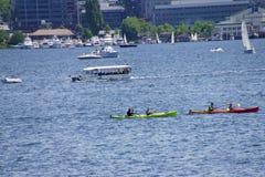 Los Kayakers celebran Memorial Day Fotografía de archivo libre de regalías