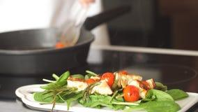 Los kebabs del pollo sirvieron con la cereza y el verdor del tomate en una tajadera blanca almacen de metraje de vídeo