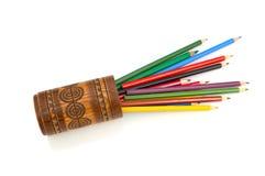 Los lápices del color en el fondo blanco Fotografía de archivo libre de regalías