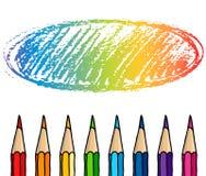 Los lápices del creyón dan el marco exhausto imagen de archivo libre de regalías