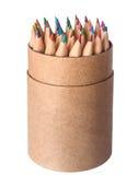 Los lápices multicolores fijaron aislado en un fondo blanco Foto de archivo