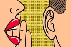 Los labios de la mujer con la mano que susurra adentro sirven el oído con la burbuja del discurso Estilo del arte pop, ejemplo de Foto de archivo