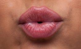Los labios de la mujer de la belleza soplan el primer Fotografía de archivo