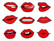 Los labios de la mujer fijaron estilo retro del vector del arte pop Boca con un beso, SM Foto de archivo libre de regalías