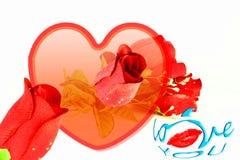 los labios de las rosas del corazón y te amo redactan el icono Foto de archivo libre de regalías