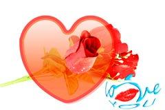 Los labios de las rosas del corazón y te amo redactan el icono Imagen de archivo libre de regalías
