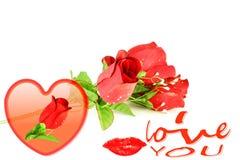 Los labios de las rosas del corazón y te amo redactan el icono Imagenes de archivo