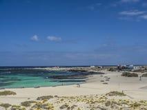 Los Lagos, El Cotillo. The beach at El Cotillo, Fuerteventura royalty free stock images