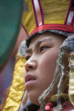 Los lamas budistas tibetanos en las máscaras místicas realizan una danza ritual de Tsam Monasterio de Hemis, Ladakh, la India Imagen de archivo libre de regalías