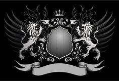 Los leones blindan y coronan insignias coas alas stock de ilustración