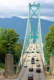 Los leones de Vancouver bloquean el puente Fotografía de archivo libre de regalías