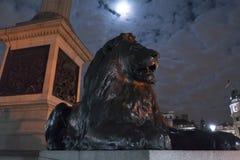 Los leones famosos en Trafalgar Square Londres en la noche Imagen de archivo libre de regalías