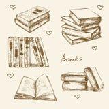 Los libros fijados dan bosquejo exhausto del vector Imágenes de archivo libres de regalías