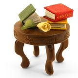 Los libros miniatura con subieron en la tabla con la sombra Foto de archivo
