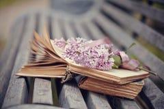 Los libros y la rama olvidados de una lila en un banco Fotografía de archivo libre de regalías