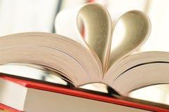 Los libros y las paginaciones formaron en una dimensión de una variable del corazón imagen de archivo libre de regalías