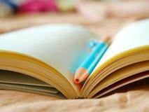 Los libros y las plumas se colocan en la cama Fotos de archivo