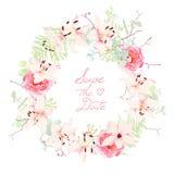 Los lirios, las rosas y la boda del helecho enrruellan el marco del vector Imagen de archivo