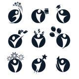 Los logotipos aislados de la silueta del cuerpo humano del extracto del color del negro de la forma redonda fijaron, negocio, edu Foto de archivo