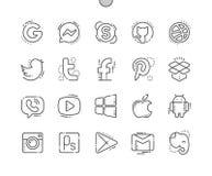 Los logotipos Bien-hicieron la línea fina rejilla 2x de los iconos 30 del vector a mano perfecto del pixel para los gráficos y Ap stock de ilustración