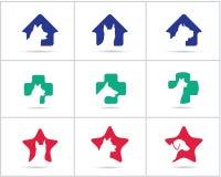 Los logotipos del perro fijaron, los iconos del hospital del animal doméstico y de los animales de la salud y del cuidado, los pe imagenes de archivo
