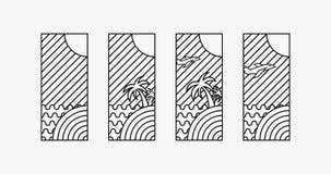 Los logotipos del tiempo de vacaciones de verano 4 diseñan, arte digital libre illustration