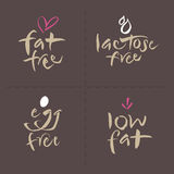 Los logotipos escritos mano de la etiqueta de la comida del vector fijan - egg la grasa Foto de archivo libre de regalías