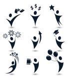 Los logotipos negros aislados de la silueta del cuerpo humano del extracto del color fijaron, negocio, educación, vector de los s Foto de archivo libre de regalías