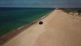 Los lugares del turista en Rusia para se relajan, playa del Mar Negro del abejón almacen de metraje de vídeo