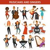 Los músicos oscilan, jazz y los cantantes de la banda de la orquesta, los instrumentos musicales vector iconos planos ilustración del vector