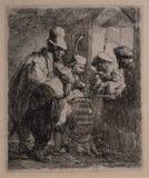Los músicos que dan un paseo a partir de 1635 por Rembrandt imagenes de archivo