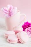 Los macarrones del rosa en colores pastel y la taza de té con subieron Fotografía de archivo libre de regalías