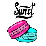 Los macarrones dulces, ejemplo del vector aislaron stock de ilustración