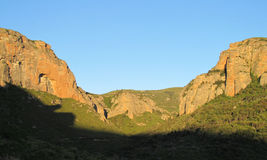 Los Mallos de Riglos unusual shaped red conglomerate rock formation in Spain Royalty Free Stock Photography